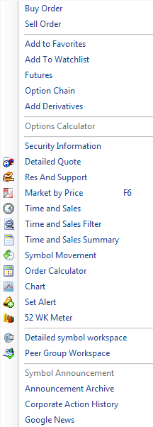 Right Click Menu Script Functions Presenting INFINI POWER   EXE based Trading and Analytics Platform