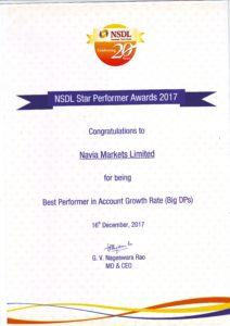 NSDL certificate 212x300 Tradeplus Receives Accolades At The NSDL Star Performer Awards