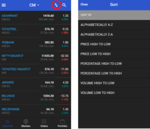 Sort icon 300x259 New Mobile Version   Refreshing your Trading experience on Mobile