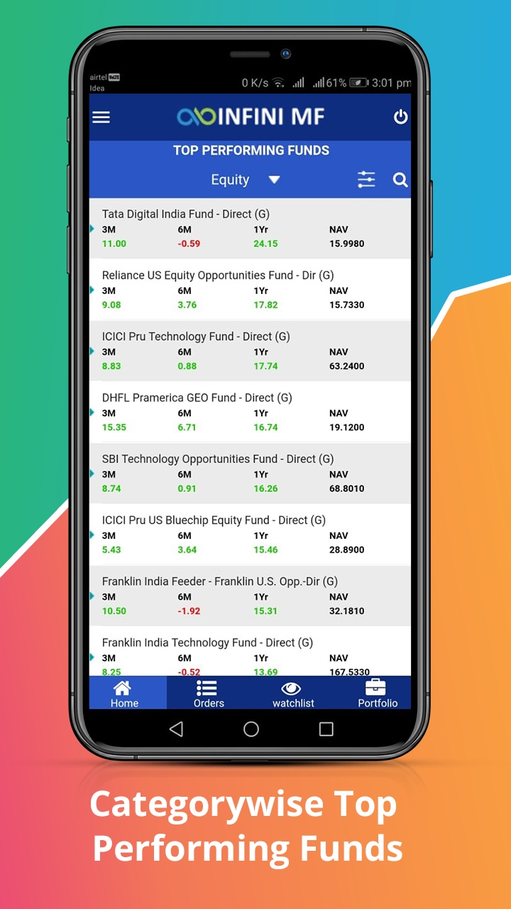 Top Performing Funds Introducing fresh new Online Mutual Fund Investment Mobile Application ! INFINI MF