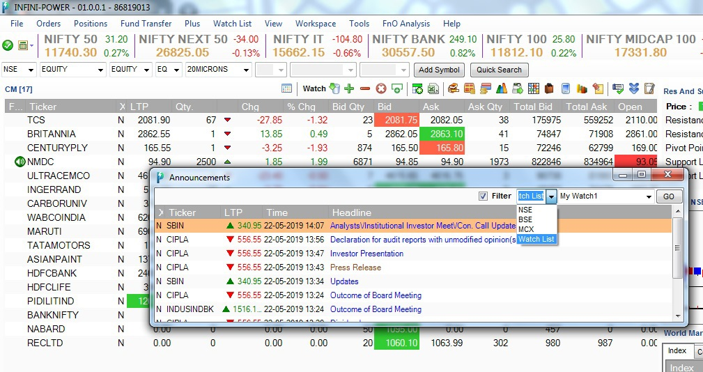 Announcement for watchlist Online Trading Platform Infini Power Update