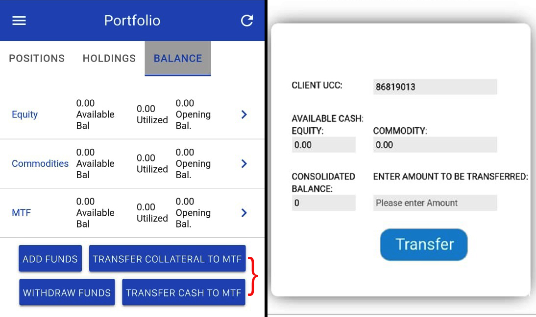 Mobile MTF transfer Updates to Infini Web and Infini Mobile App